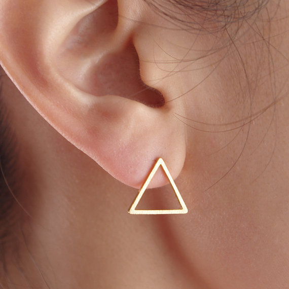 triangle hollow stud earrings flairmod